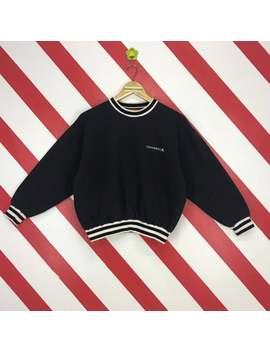 vintage-90s-converse-sweatshirt-converse-usa-sweater-crewneck-converse-streetwear-jumper-converse-women-logo-embroidery-black-size-medium by etsy