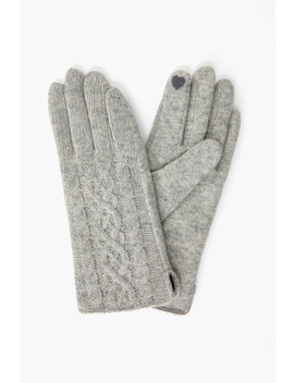 Grey Half Knitted Cable Tech Gloves by Look By M