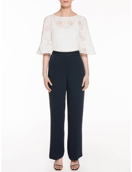Cotton Embroidery Flared Sleeve Top by Veronika Maine