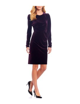 velvet-ruched-side-long-sleeve-sheath-dress by calvin-klein