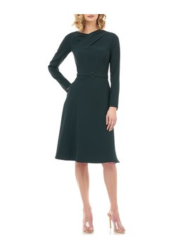 lennox-pleated-neck-long-sleeve-belted-crepe-dress by kay-unger