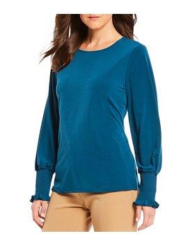 davi-knit-round-neck-smocked-cuff-long-sleeve-top by preston-&-york