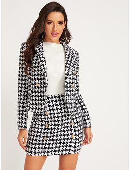 shein shawl-collar-houndstooth-print-blazer-and-bodycon-skirt-set by sheinside
