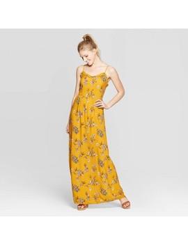 womens-floral-print-sleeveless-strappy-ruffle-trim-maxi-dress---xhilaration-gold by xhilaration