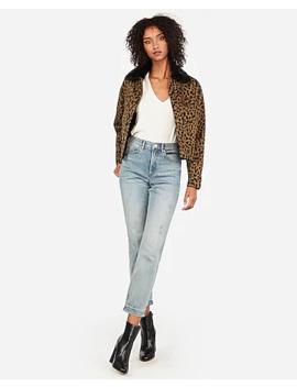 leopard-print-sherpa-lined-denim-shortie-jacket by express