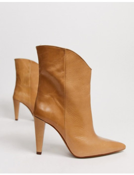 topshop-leather-pointed-boots-with-cone-heels-in-beige by topshop