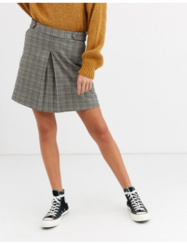 oasis-pleated-mini-skirt-with-buttons-in-check by oasis