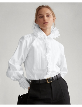 Ruffled Necktie Cotton Shirt by Ralph Lauren