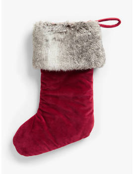john-lewis-&-partners-traditions-faux-fur-trim-velvet-christmas-stocking,-red-_-grey by john-lewis-&-partners