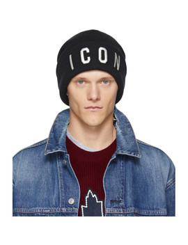 black-&-white-icon-beanie by dsquared2