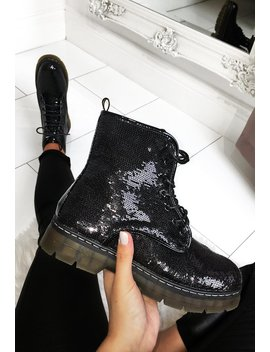 glitter-overload-black-sequin-lace-up-chunky-boot by pink-boutique
