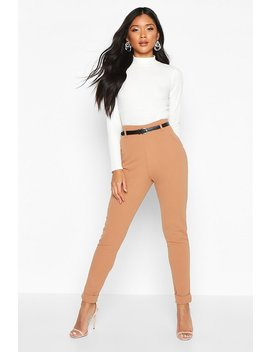 belted-turn-up-slim-fit-trousers by boohoo