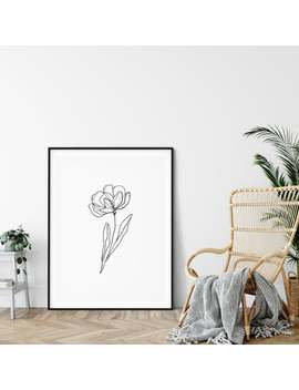 black-and-white-sketch-flower-peony-design-art-print-office-art-print-monochrome-art-minimal-decor-living-room-office---4-sizes by etsy