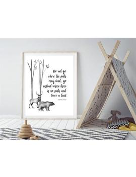 boys-black-and-white-bedroom-art-print,-leave-a-trail-ralph-waldo-emerson-quote,-woodland-bear-deer-forest-adventure-art,-the-path-artwork by etsy