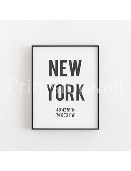 new-york-print,-new-york-coordinates-print,-new-york-poster,-new-york-wall-art,-city-poster-print,-black-and-white-print,-travel-print by etsy