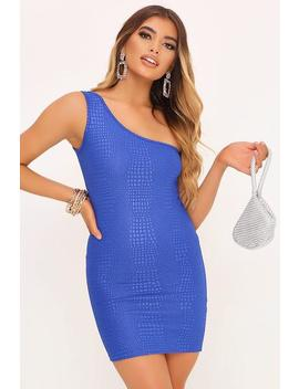 cobalt-embossed-croc-one-shoulder-mini-dress by i-saw-it-first