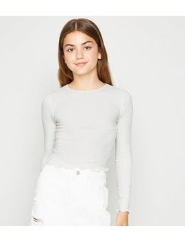 girls-cream-frill-trim-long-sleeve-t-shirt by new-look