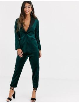 asos-design-petite-velvet-tux-suit-blazer-in-forest-green by asos-design