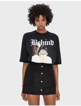 button-down-faux-suede-skirt by bershka