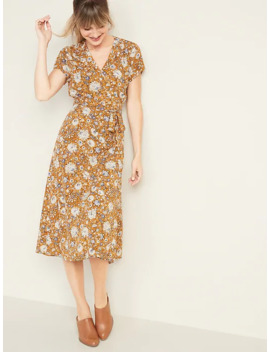 wrap-front-midi-dress-for-women by old-navy