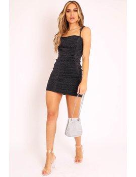 black-lurex-glitter-slinky-ruched-tie-strap-bodycon-dress---caressa by rebellious-fashion