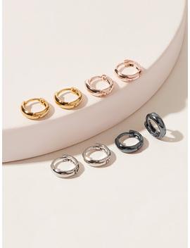 Simple Hoop Earrings 4pairs by Romwe
