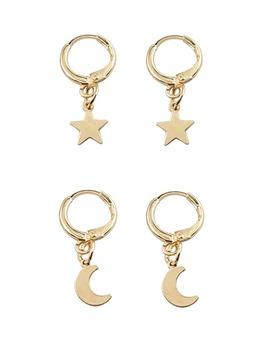 Moon &Amp; Star Hoop Drop Earrings 1pair by Romwe