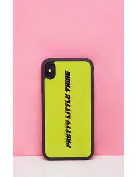 prettylittlething-neon-lime-logo-xr-iphone-case- by prettylittlething