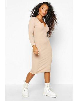 petite-notch-neck-long-sleeve-rib-midi-dress by boohoo