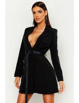 utility-pocket-belted-blazer-dress by boohoo
