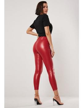 red-faux-leather-seam-detail-leggings by missguided