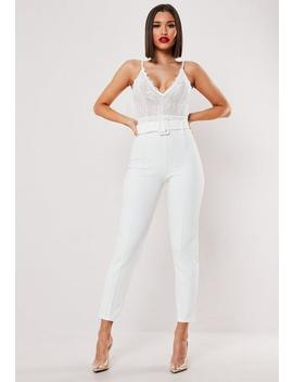 white-co-ord-self-fabric-belted-trousers by missguided