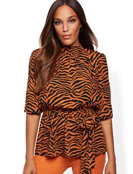 zebra-print-mock-neck-tie-waist-blouse by new-york-&-company