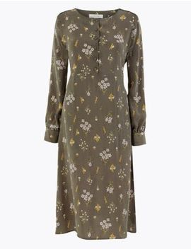 cupro-ditsy-relaxed-midi-dress by marks-&-spencer