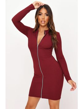 burgundy-zip-front-high-neck-ribbed-dress by i-saw-it-first