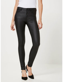 Seven Normal Waist Smooth Coated Trousers by Vero Moda
