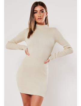 sand-high-neck-rib-knitted-mini-dress by missguided