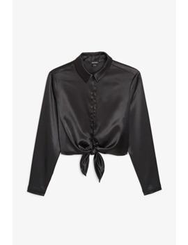 silky-tie-blouse by monki