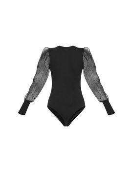 black-dobby-mesh-sleeve-bodysuit by prettylittlething