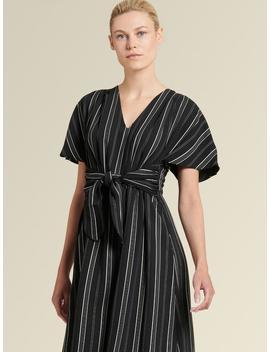 striped-tie-front-midi-dress by donna-karan