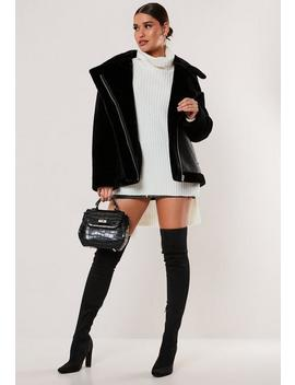 petite-black-faux-fur-sleeve-oversized-aviator-jacket by missguided