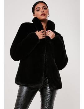 petite-black-shawl-collar-faux-fur-coat by missguided