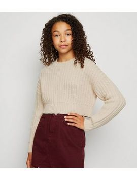 girls-off-white-ribbed-knit-jumper by new-look