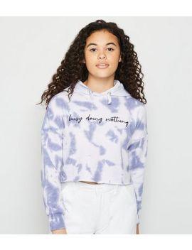 girls-blue-tie-dye-busy-slogan-hoodie by new-look