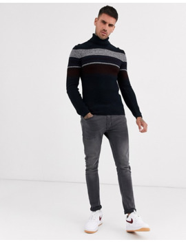 asos-design-muscle-fit-rib-roll-neck-with-colour-block-stripes-in-navy by asos-design