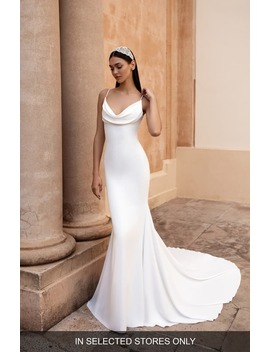 antiope-cowl-neck-crepe-trumpet-wedding-dress by pronovias