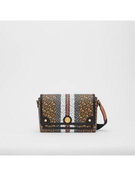Monogram Stripe E Canvas Note Crossbody Bag by Burberry