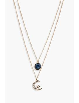Layered Moon And Circle Necklace by Boohoo