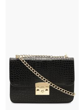 Croc & Lock Cross Body Bag by Boohoo