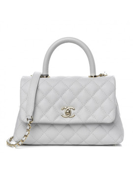 chanel-caviar-quilted-mini-coco-handle-flap-light-grey by chanel